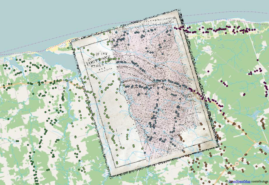 Détails d'une carte historique géoréférencée et des emplacements de maisons numérisées à partir de l'Atlas historique de l'IPE de 1880. Chaque étudiant a numérisé un canton différent, symbolisé ici par les différentes couleurs.