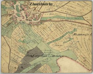 """Figure 3: Historical map of the centre of Holubí Zhoř (Zhorz Holuby in German) as created during the Franciscan cadastre mapping around 1824. : Zhorz Holuby. Catastral Schätzungs Operat, signature 715, filing (""""Karton"""") 280, file (""""značka"""") D8, fund """"Stable cadastre – Schätzungoperaten"""". [Archive material] Moravian Provincial Archives in Brno, Czech Republic."""