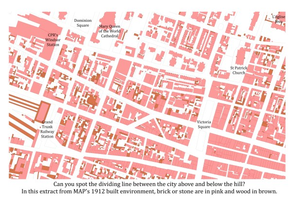The built environment in Montréal, 1912. Map Credit: Sherry Olson and the MAP team.