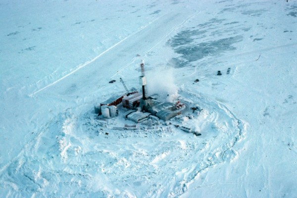 Artificial Island in the Beaufort Sea, 1976 Crosbie Gallery. Prince of Wales Heritage Centre.