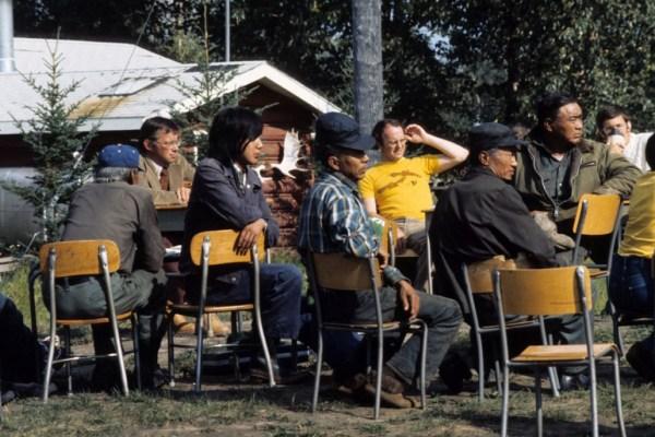 Hearing at Nahanni Butte, 1975 (Prince of Wales Northern Heritage Centre)