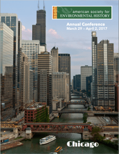 """The cover of the ASEH 2017 program. This year's theme was """"Winds of Change: Global Connections Across Space, Time, and Nature."""""""