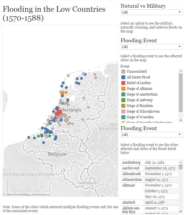 An interactive map on my website that shows which cities and villages were affected by military and natural floods during the Dutch Wars of Independence.
