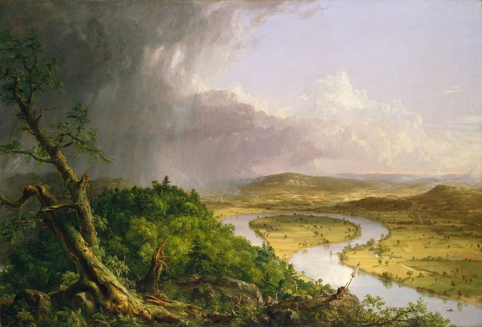 Painting of a river running through a valley