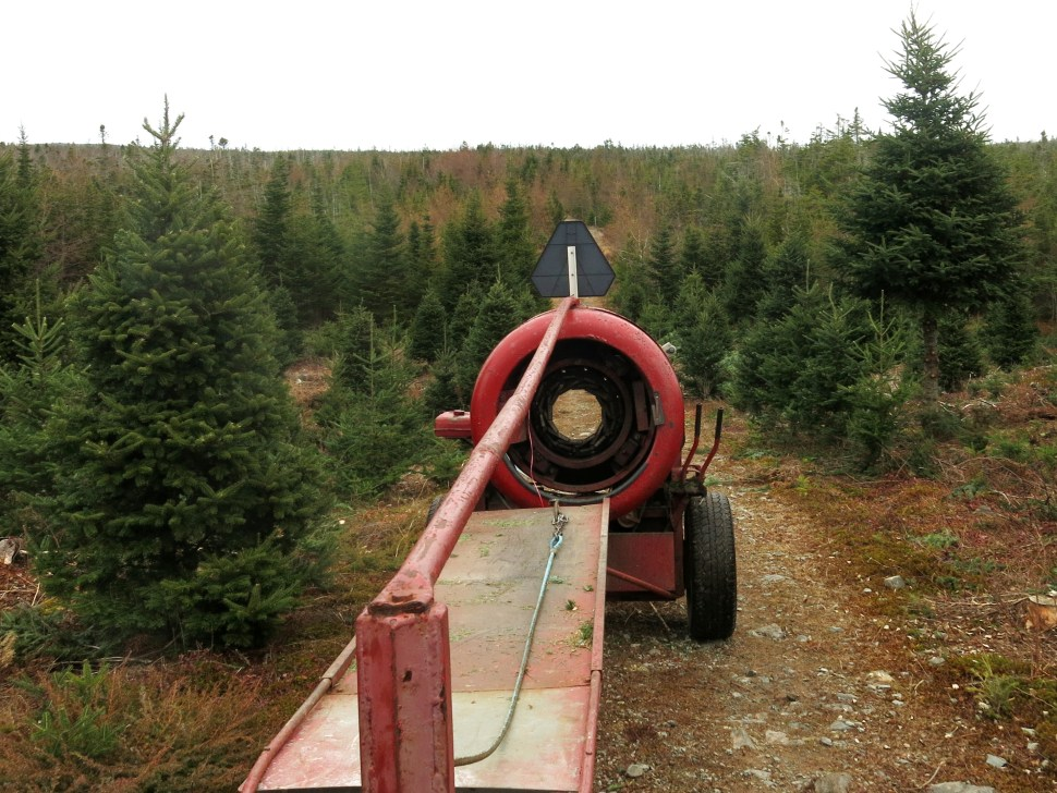 Inactive Christmas tree baler