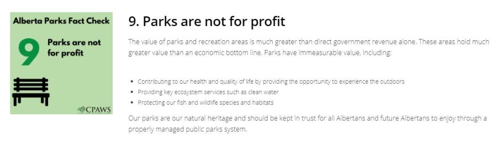 Parks are not for profit