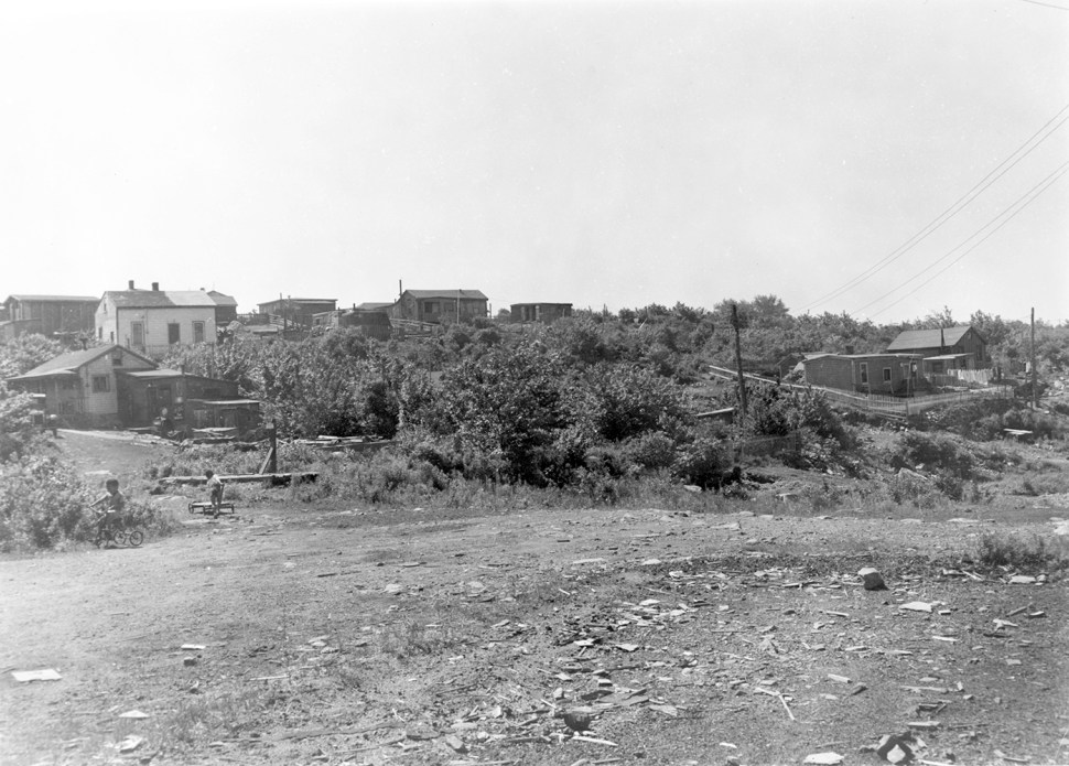 A view of several small houses in Africville in 1960.