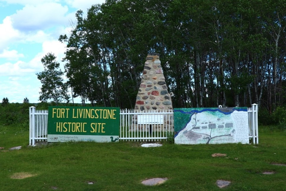 A stone monument at the Fort Livingstone Historic Site.