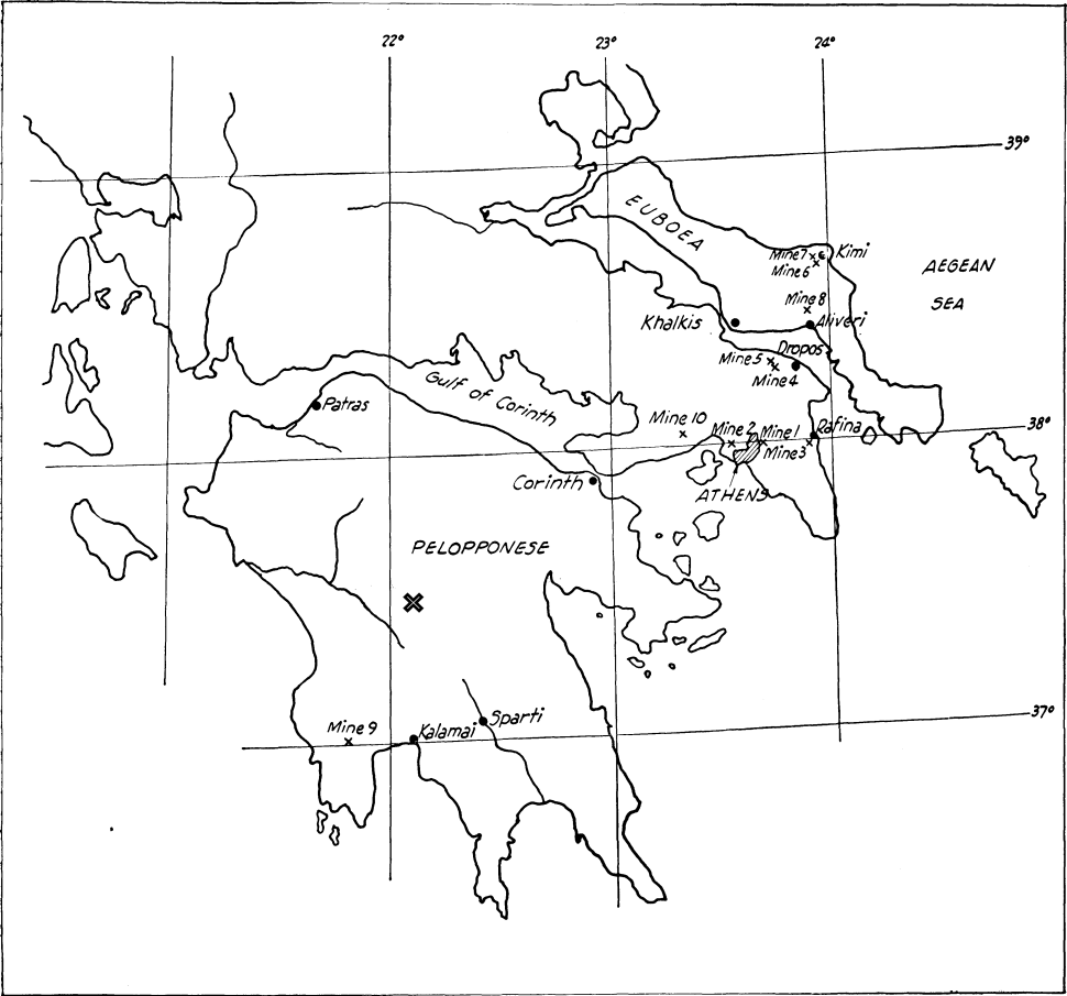 Line map of southern Greece, approximate position of Megalopolis marked in centre of Peloponnese. Mine 9 is in the south-east corner of the Peloponnese; other mines are largely in Attica, the region around Athens, (mines 1, 2, 3, 4, 5, 10) or on the island of Euboea (mines 6, 7, 8)