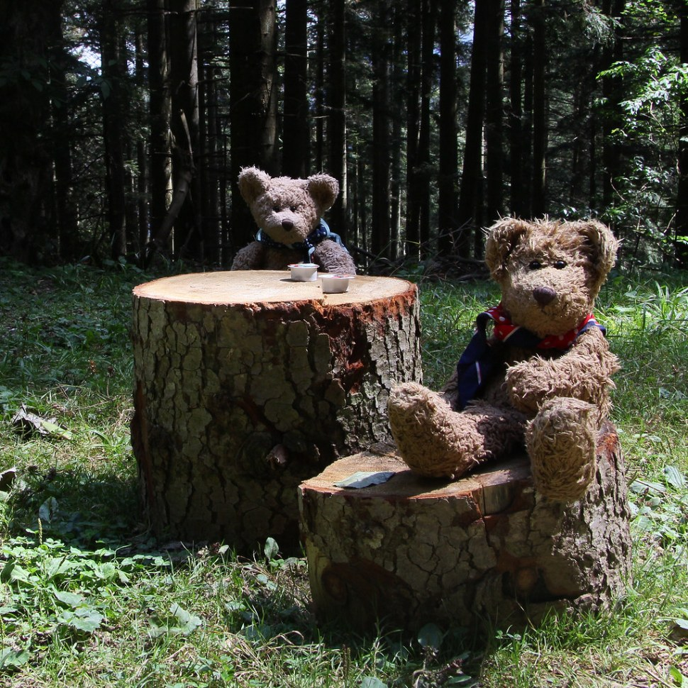 Two teddy bears sitting at a table and chairs made out of logs.