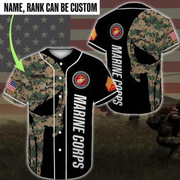 Custom Baseball Shirt United States Marine Corps DH20- All Over Printed(8886)