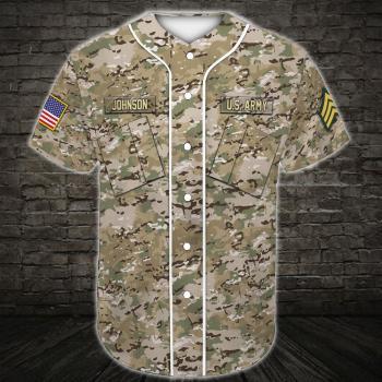 Custom US Army Baseball Shirt US Army Veteran, Army Rank