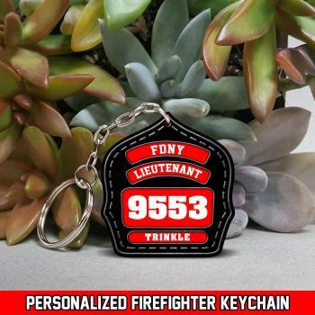 Custom Firefighter Helmet Wood Keychain Gift For Firefighter Retired 3D Design All Over Printed