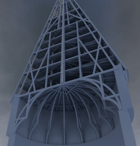 Interior Dumbledore's tower roof structure for damaged section