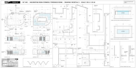 MI5 briefing Room - Set plans and elevations
