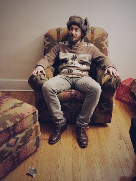 Josh found a chair that matched his hat & sweater!