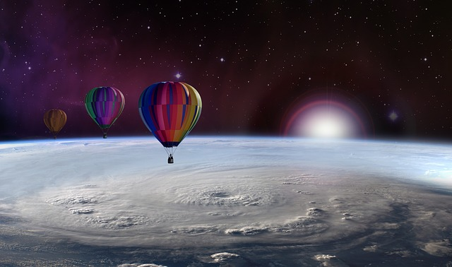 Balloons above planet Earth
