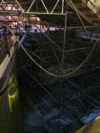Scaffolding inside the lock
