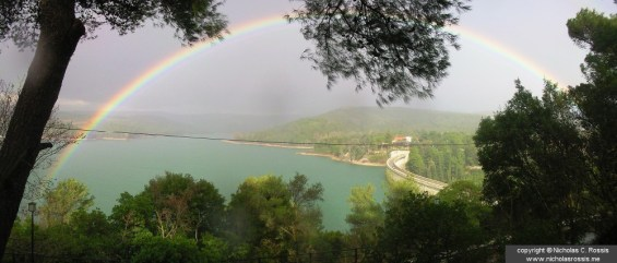Rainbow over Marathon Lake, Greece