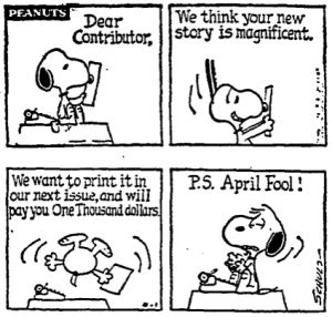 Peanuts - April Fools' Day | From the blog of Nicholas C. Rossis, author of science fiction, the Pearseus epic fantasy series and children's books