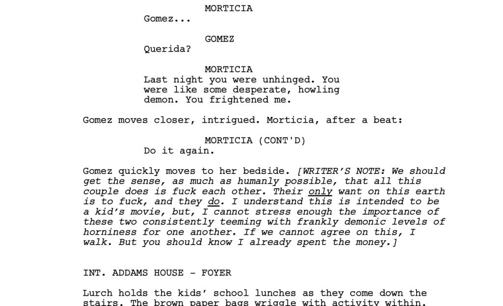 Addams family script   From the blog of Nicholas C. Rossis, author of science fiction, the Pearseus epic fantasy series and children's books