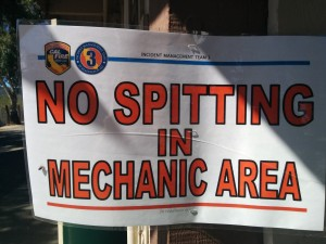 No Spitting in Mechanic Area