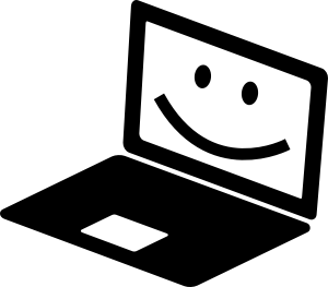 happy laptop cartoon