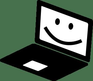 happy laptop cartoon