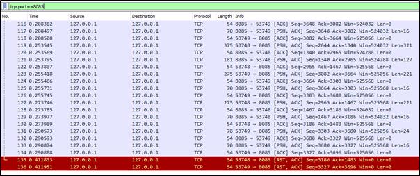 Wireshark packet capture from demo JNBridge application.