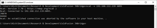 Using netcat to test the message preamble JNB70.