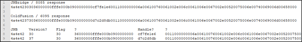 Packet comparison in Notepad++.
