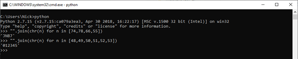 Using the Python shell to convert byte values to ASCII.