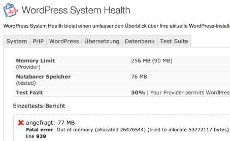 Vor der Umstellung der PHP-Version war lt. Messung 76 MB Speicher verfügbar.