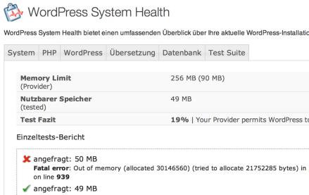 Nach der Umstellung der PHP-Version war lt. Messung 49 MB Speicher verfügbar.