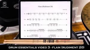 Drum Essentials Video 3 the flam (rudiment 20) from NickCostaMusic.com nick costa drums nick costa music drum lessons free drum lesson flam drum rudiments