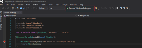Selecting the debugger to run example