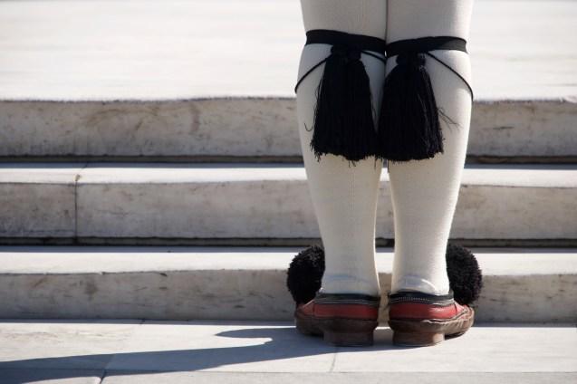 Close-up of tassels of Greek presidential guardsman