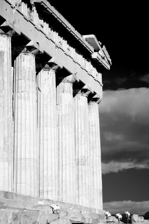 Colonnade and entablature of Parthenon with floodlights