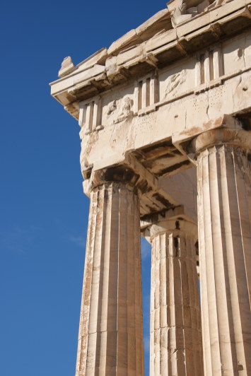 Corner of marble Parthenon colonnade and pediment