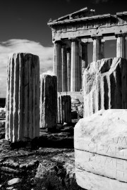 Mono ruined columns and pediment of Parthenon