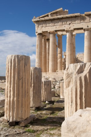 Ruined marble columns in front of Parthenon