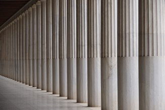Stoa of Attalos marble ceiling and colonnade