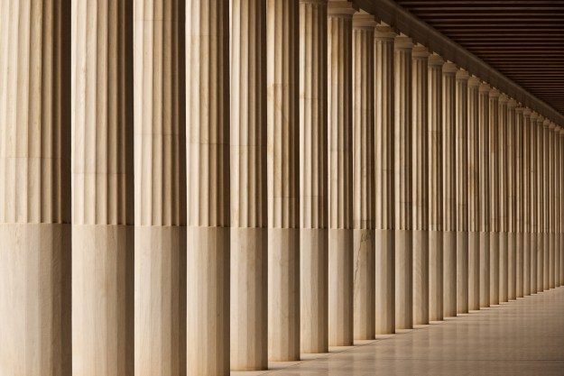 The Stoa of Attalos marble colonnade and ceiling