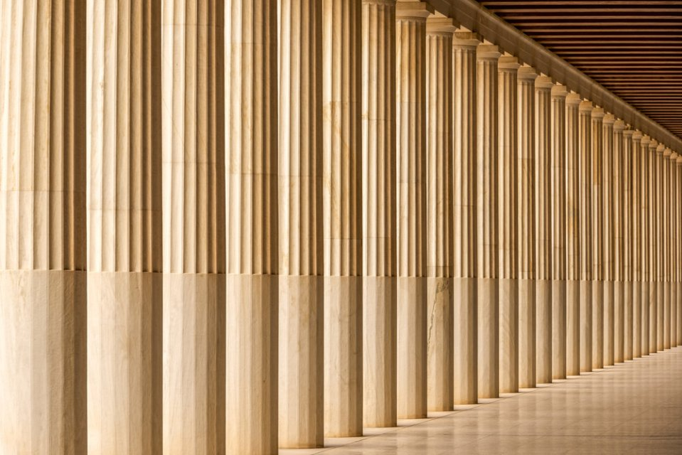 Stoa of Attalos marble colonnade and ceiling