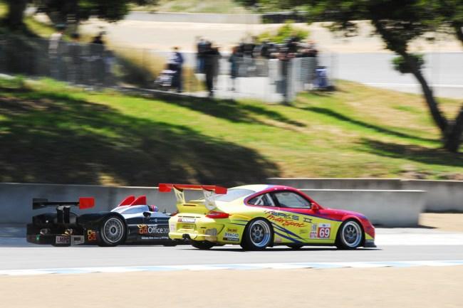 American Le Mans Series at Laguna Seca, Monterey California- LMP Prototype Passes GT3 Porsche Cup Car