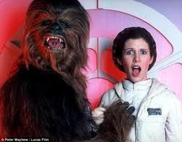 Chewbacca grabbing Princess Leia's boob.