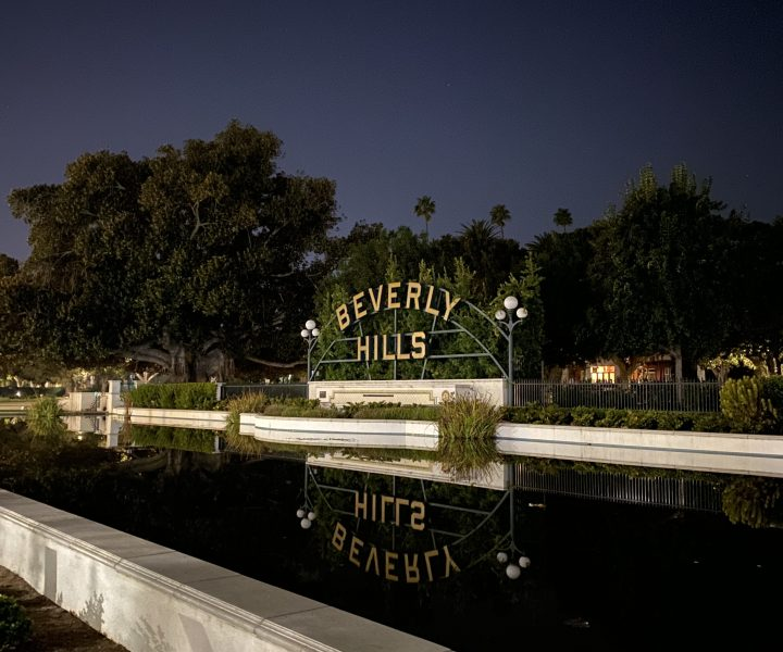 Beverly Hills sign at night.