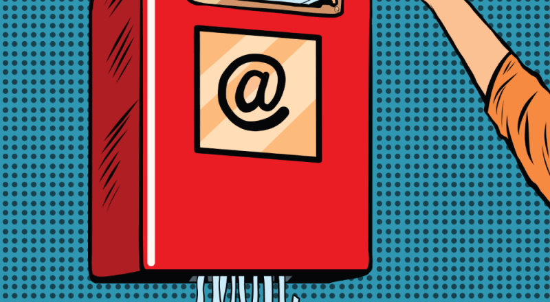 Image illustrates email as topic of blog post