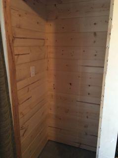 closet after putting up shiplap