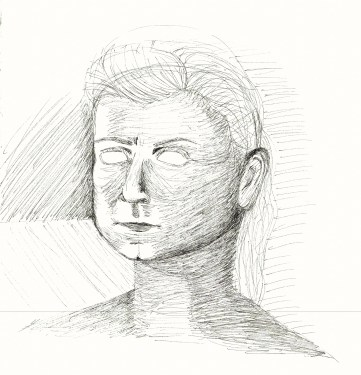 a portrait of a woman drawn in pen